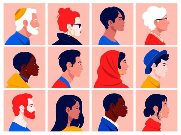 zestaw twarzy ludzi w profilu: mężczyźni, kobiety, młodzi i starsi różnych ras i narodów. - grupa przedmiotów stock illustrations