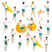 A set of people's isometrics for vector illustrations, characters in different poses, 3D teenagers, modern girls and guys in light summer clothes in different poses.