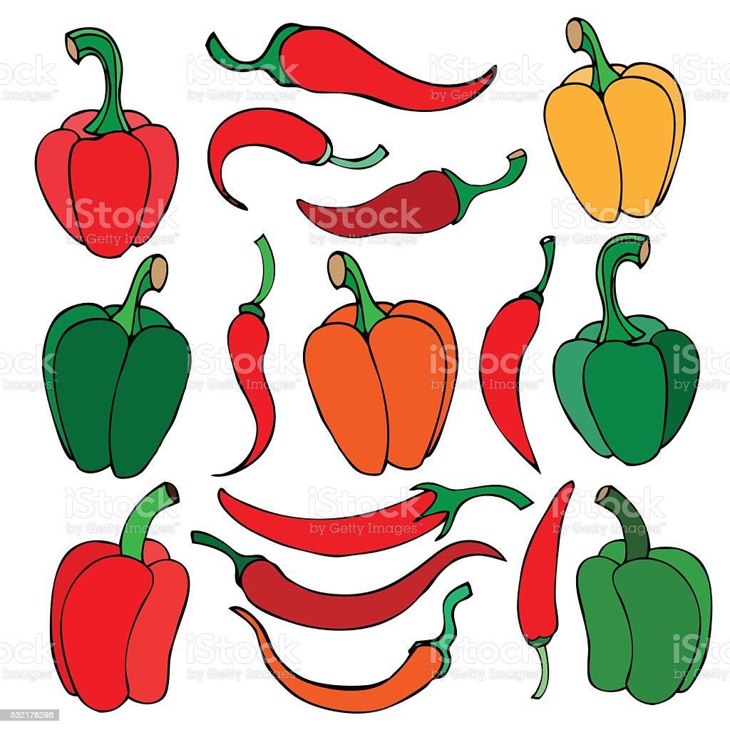 Set of pepper vector art illustration