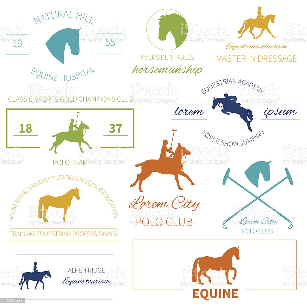 Set of perfect high quality horse labels for equestrian activities vector art illustration