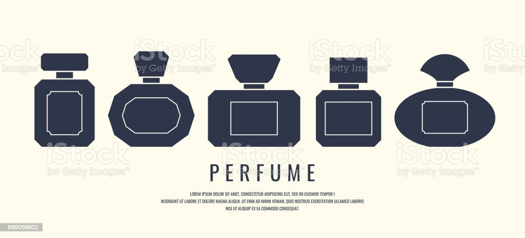 A set of perfume bottles. Black silhouette on a white background, vector illustration - arte vettoriale royalty-free di Accudire