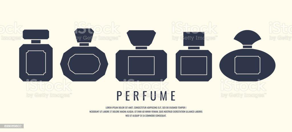 Um conjunto de frascos de perfume. Silhueta negra sobre um fundo branco, ilustração vetorial - ilustração de arte em vetor