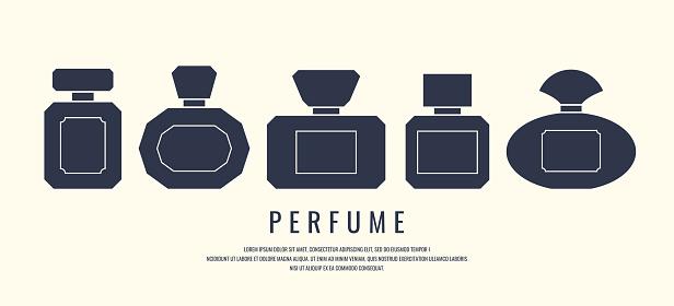 A Set Of Perfume Bottles Black Silhouette On A White Background Vector Illustration - Immagini vettoriali stock e altre immagini di Accudire