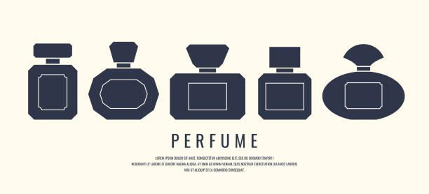 illustrazioni stock, clip art, cartoni animati e icone di tendenza di a set of perfume bottles. black silhouette on a white background, vector illustration - profumo
