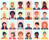 Set of persons, avatars, people heads of different ethnicity and age in flat style. Multi nationality people faces social network icons vector collection.