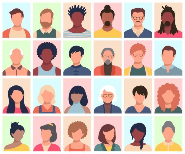 набор лиц, аватаров, людей разных национальностей и возраста в плоском стиле. multi национальности социальных сетей люди сталкиваются с колле - portrait stock illustrations