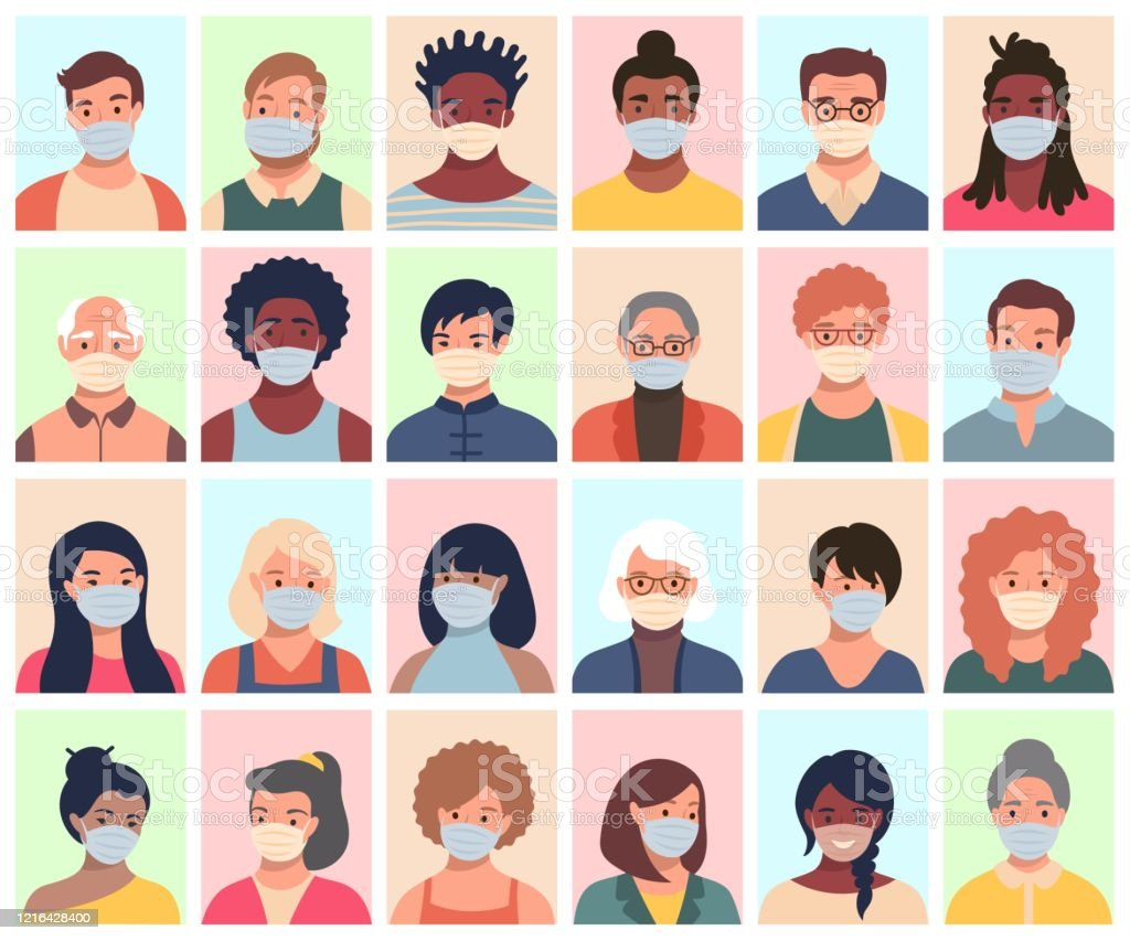 Set of persons, avatars, people heads of different ethnicity and age in protective masks. Men and women in flat style following recommendations for the prevention of coronavirus. - Royalty-free Adulto arte vetorial