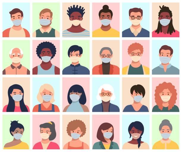人、アバター、人々の頭の異なる民族と保護マスクの年齢のセット。コロナウイルスの予防のための勧告に従って平らなスタイルの男性と女性。 - マスク点のイラスト素材/クリップアート素材/マンガ素材/アイコン素材