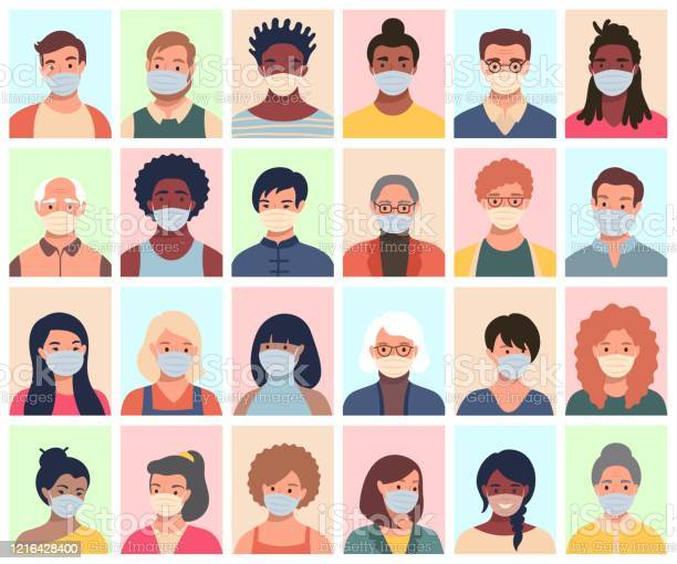 Set Of Persons Avatars People Heads Of Different Ethnicity And Age In Protective Masks Men And Women In Flat Style Following Recommendations For The Prevention Of Coronavirus - Arte vetorial de stock e mais imagens de Adulto