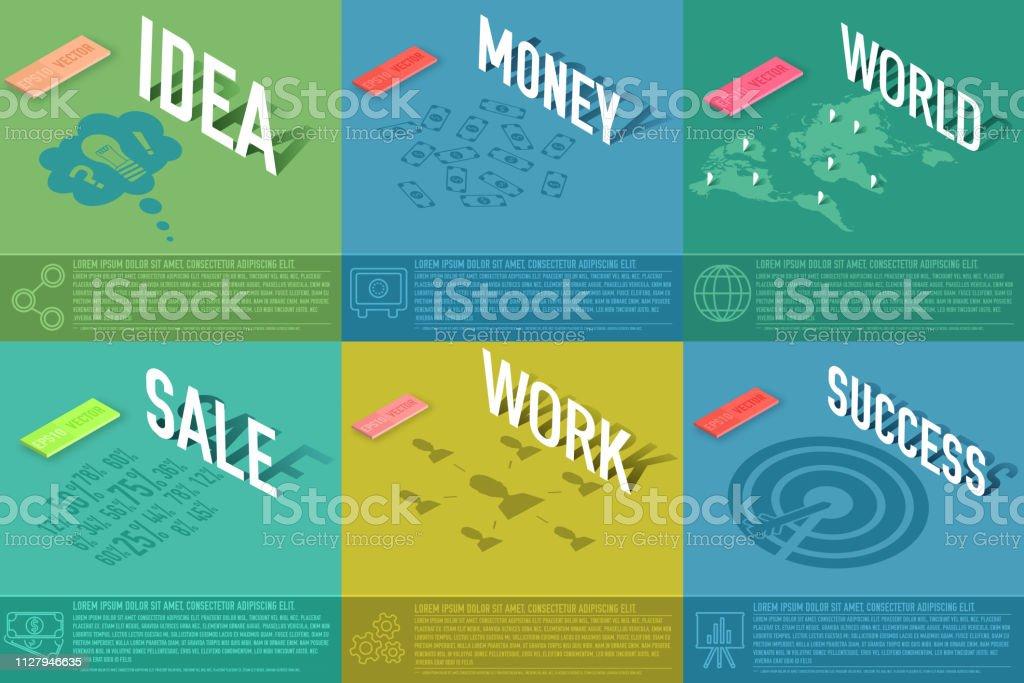 Satz Von Perspektive Welt Idee Verkauf Visitenkarte