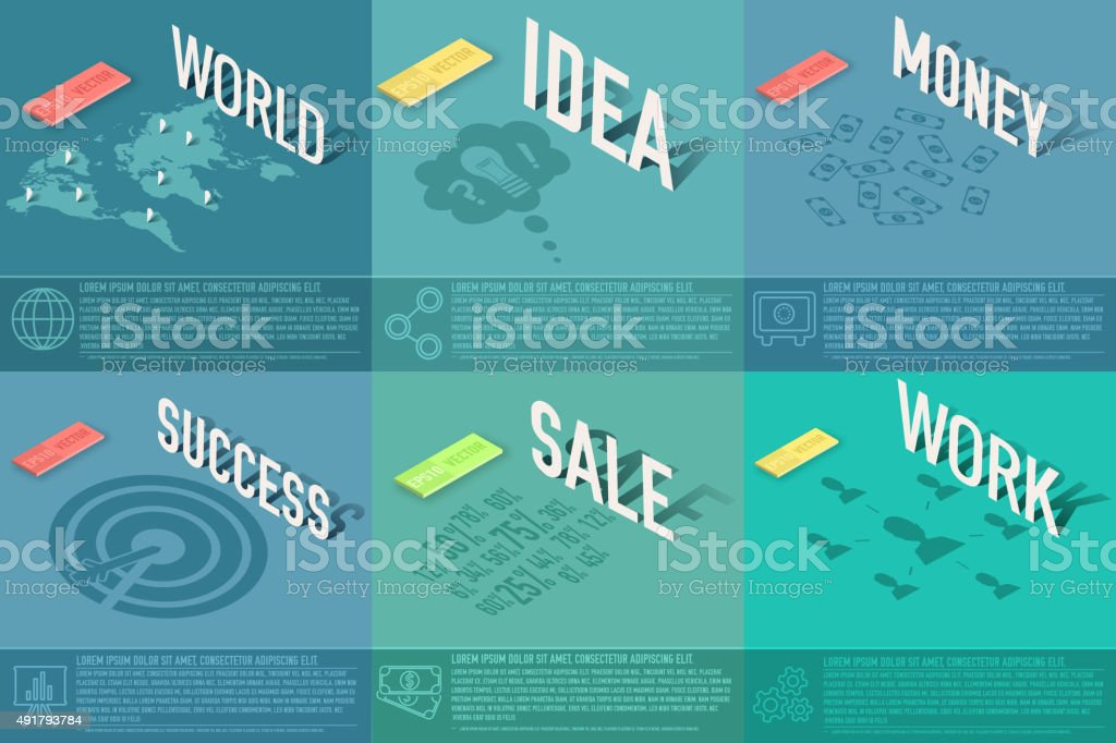 世界の発見、アイデア、販売、成功のビジネスカード ベクターアートイラスト