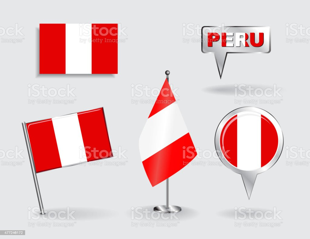 Set of Peruvian pin, icon and map pointer flags. Vector vector art illustration
