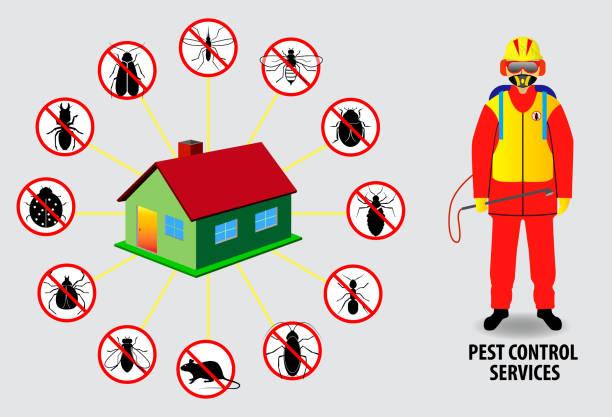 illustrazioni stock, clip art, cartoni animati e icone di tendenza di concetto di controllo dei parassiti, o insetto proibito isolato. - attrezzatura per la disinfestazione