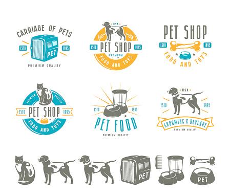 Set of pet care labels, badges and design elements