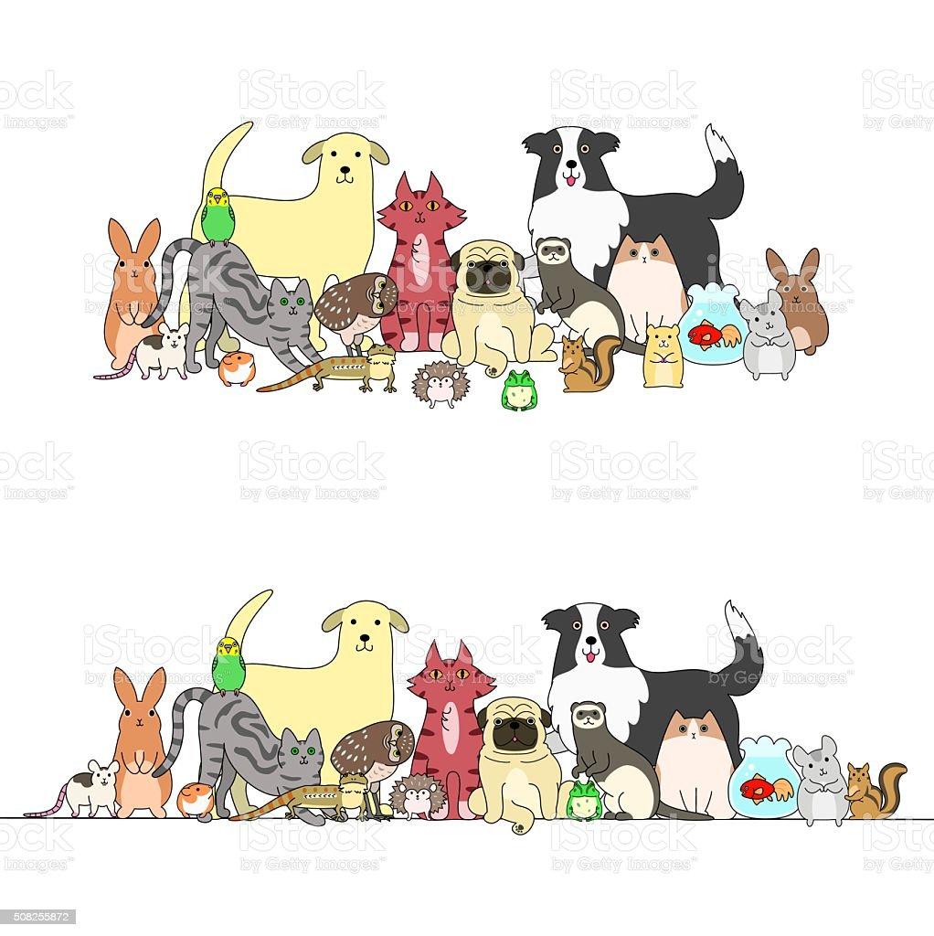 Zestaw Zwierzęta Wiersz I Grupy Stockowe Grafiki Wektorowe