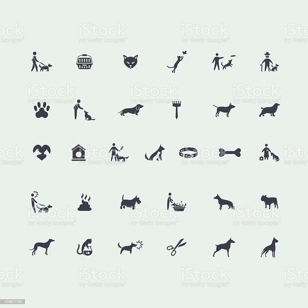 Set of pets icons vector art illustration