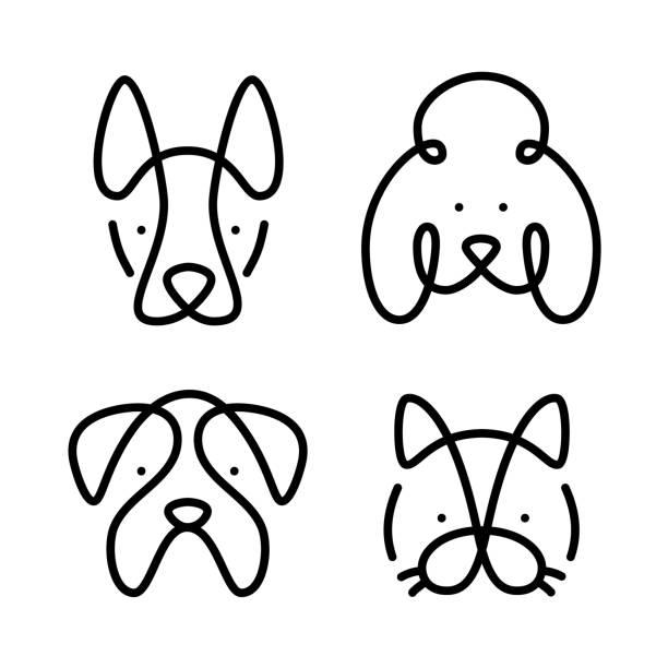 satz von haustieren. vector art-line-stil. kollektion katze und hunde - tierkopf stock-grafiken, -clipart, -cartoons und -symbole