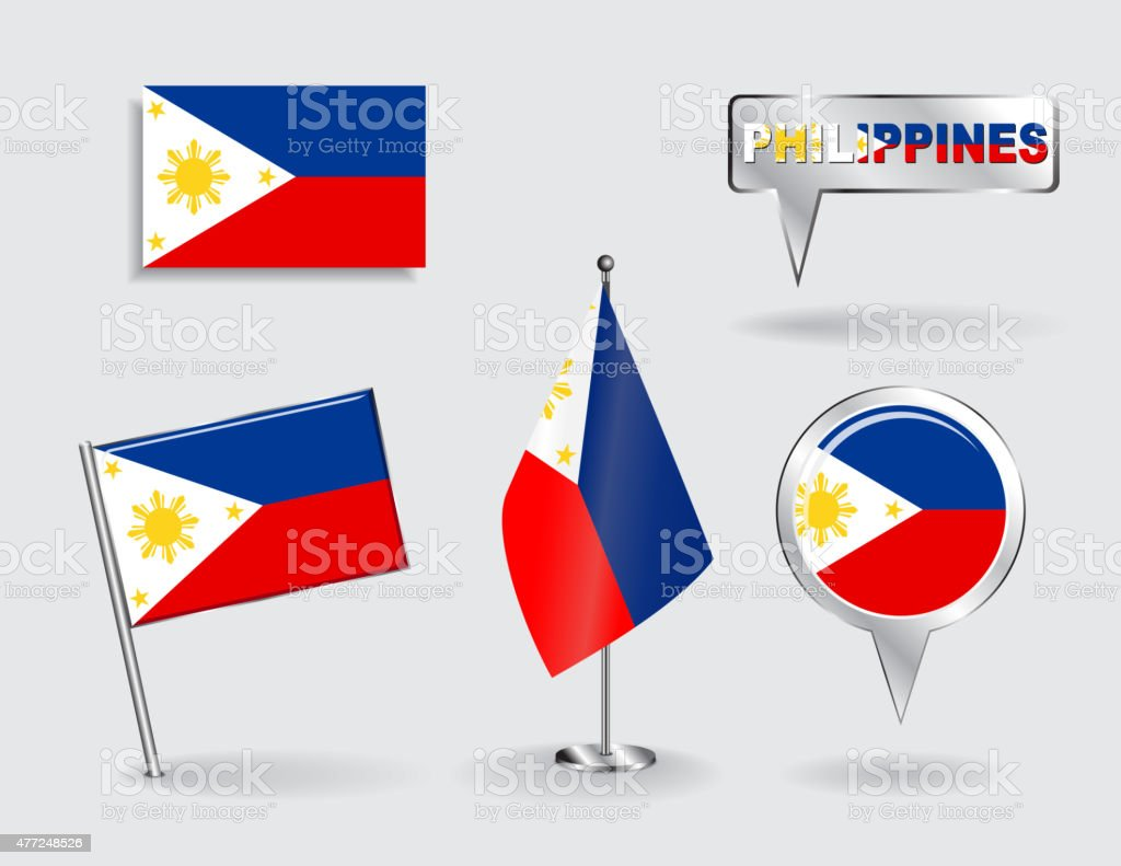 Set of Philippines pin, icon and map pointer flags. Vector vector art illustration