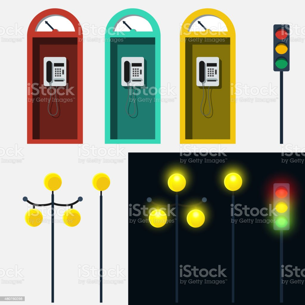Set of phone booth lamp and traffic light vector art illustration