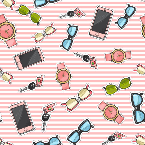 set of phones, watches, sunglasses, car keys. - stripped pattern stock illustrations, clip art, cartoons, & icons