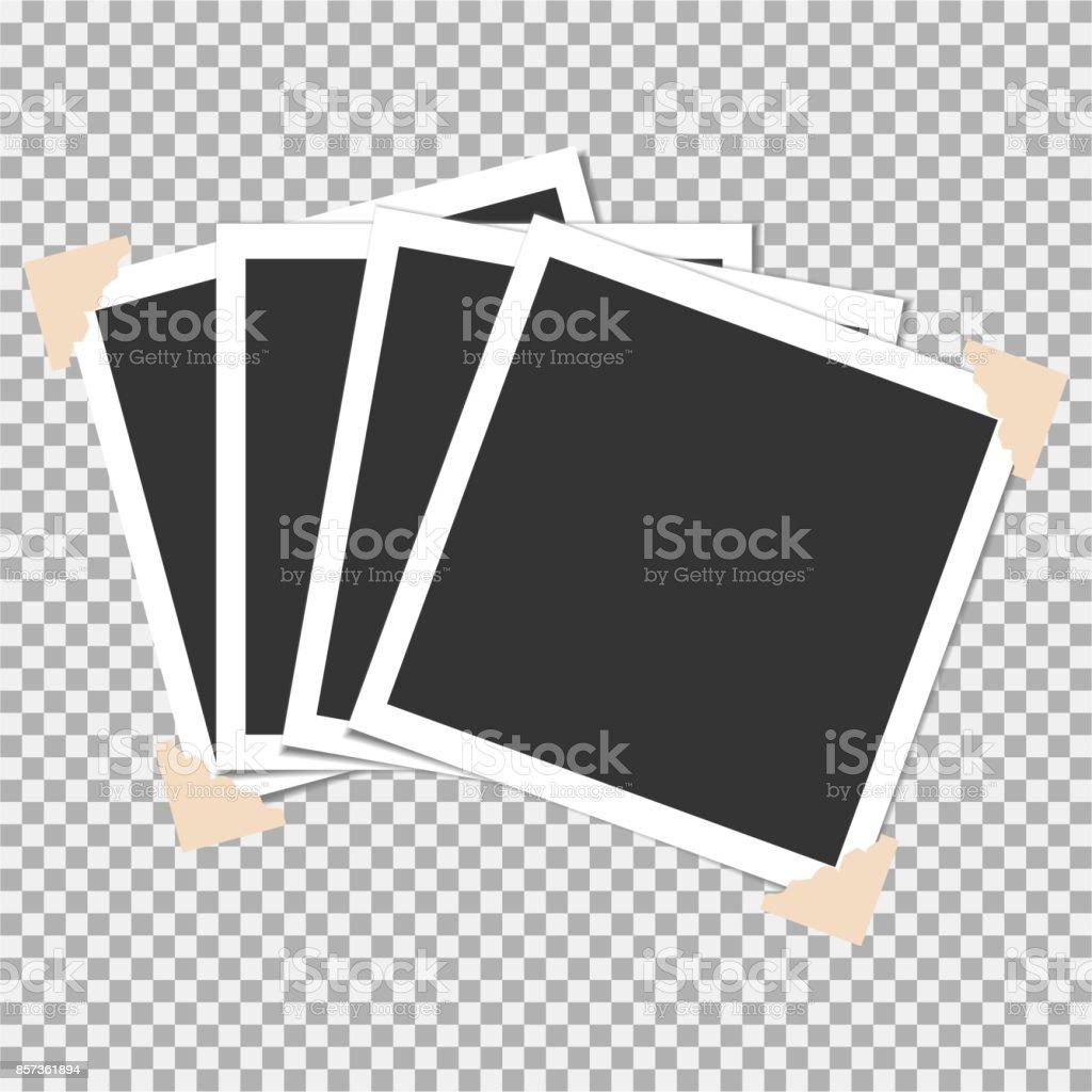 Set med fotoram med vinkel, hörnet på grå bakgrund. Mall, tomt för ditt trendiga och snygga foto vektorkonstillustration