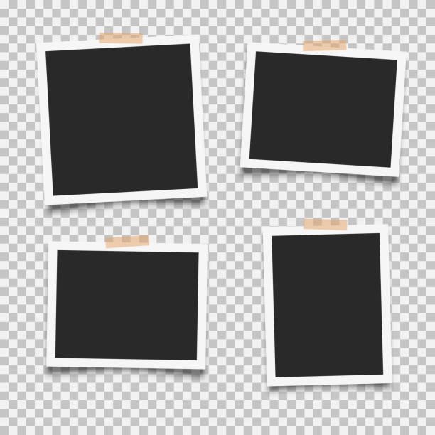 Set of photo frames 1 Set of empty photo frames with adhesive tape photo album stock illustrations