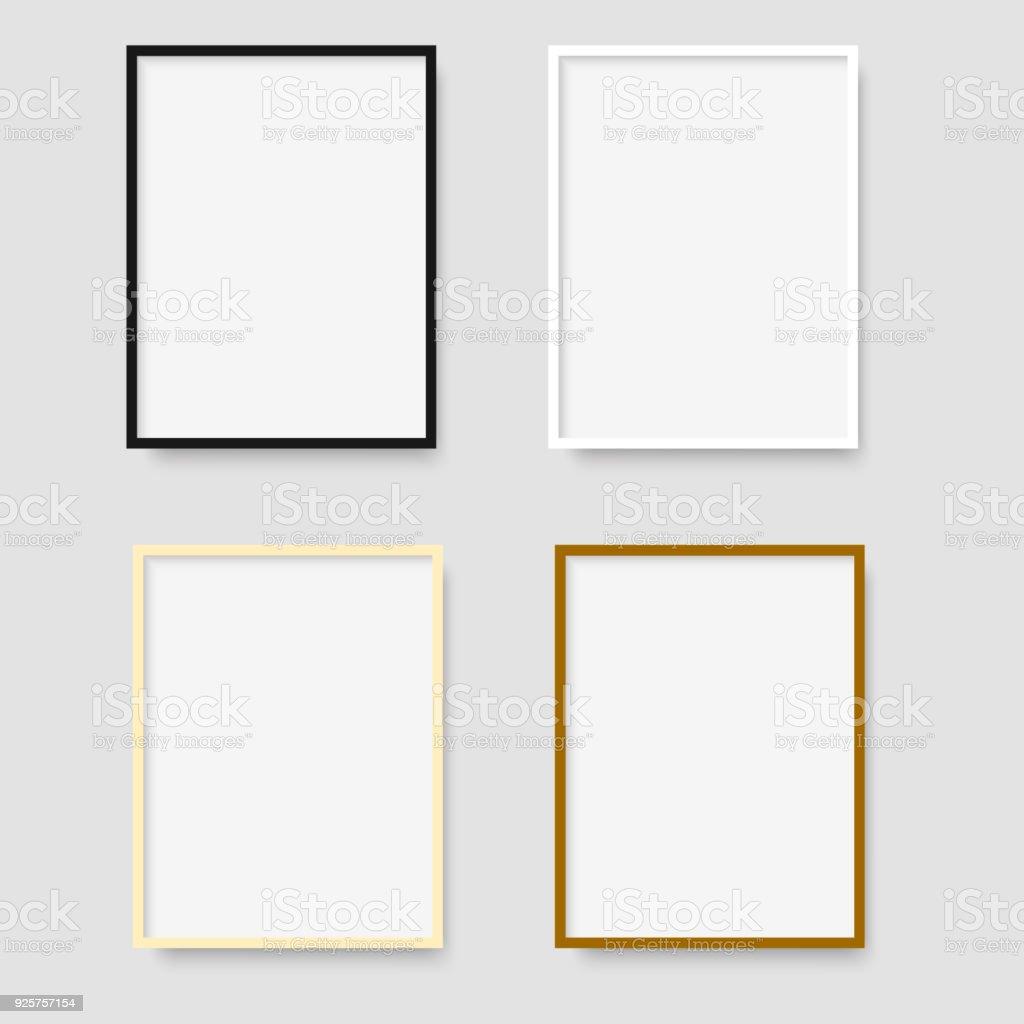 Set of photo frames on grey background. Vector. vector art illustration