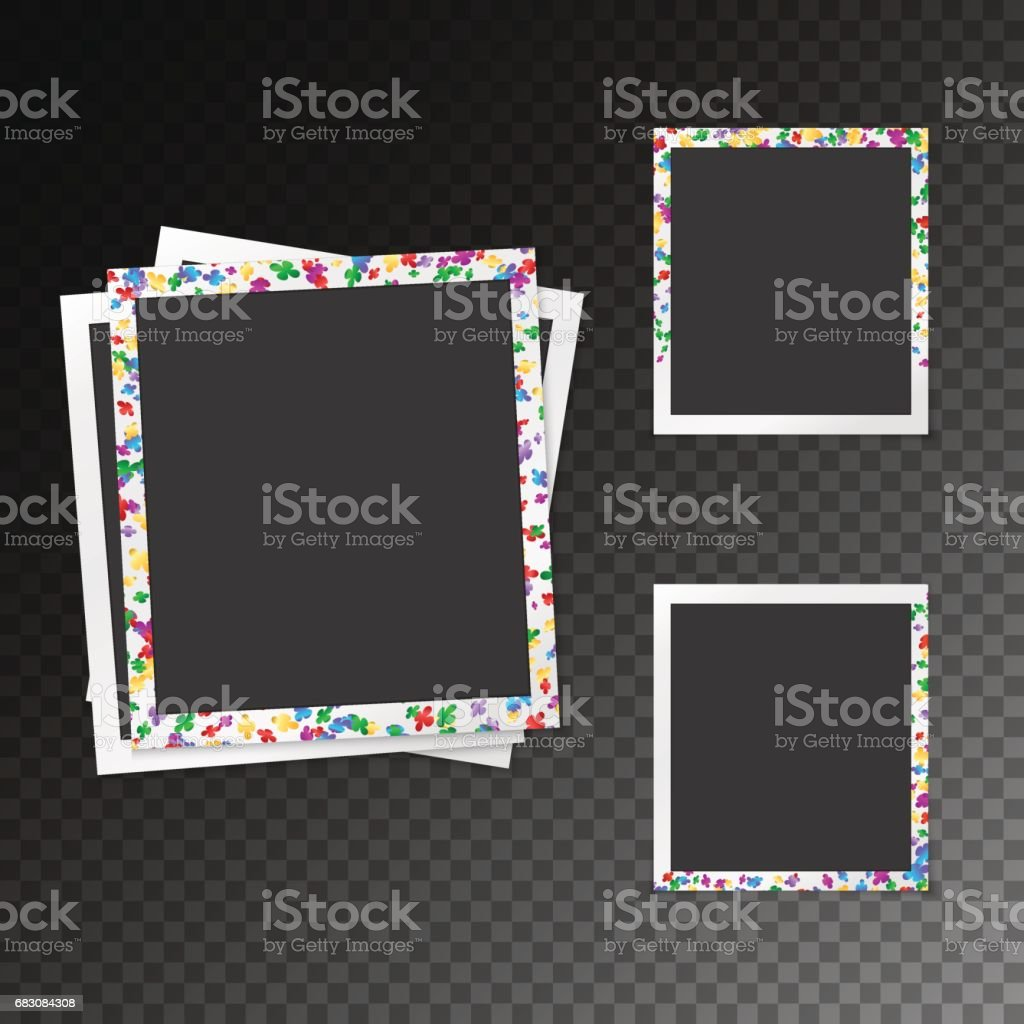 Set of photo frames with confetti set of photo frames with confetti - arte vetorial de stock e mais imagens de abstrato royalty-free