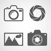 Camera icons, aperture icon, photo icon. Vector illustration. Set of flat icons isolated