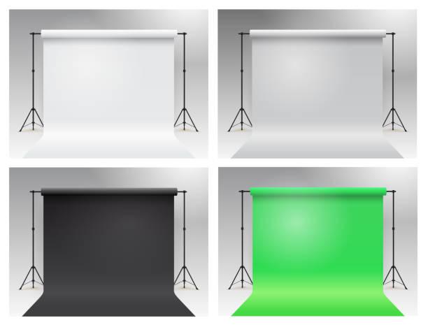 stockillustraties, clipart, cartoons en iconen met set van photo studio chroma key. moderne apparatuur fotostudio. wit, grijs, zwart, groene achtergrond staan statieven. realistische 3d-sjabloon mock up. vector illustratie. geïsoleerd op witte achtergrond. - green screen