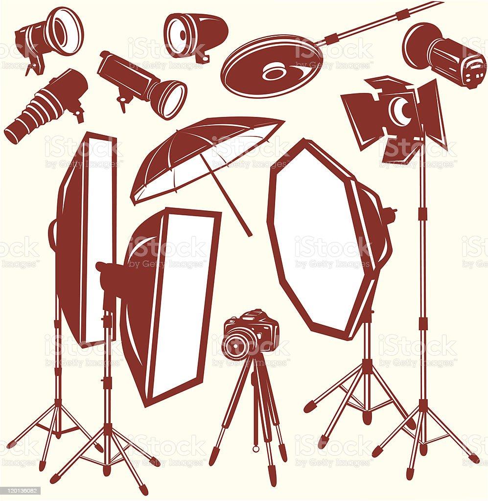 Set of photo studio equipment royalty-free set of photo studio equipment stock vector art & more images of camera - photographic equipment