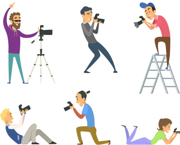 set of photographers at work. male and female cartoon characters with digital cameras - fotografika stock illustrations