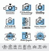 Set of photography and camera service logo