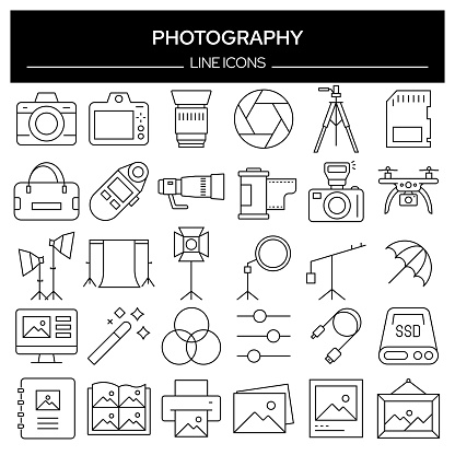 Set of Photography Related Line Icons. Outline Symbol Collection, Editable Stroke