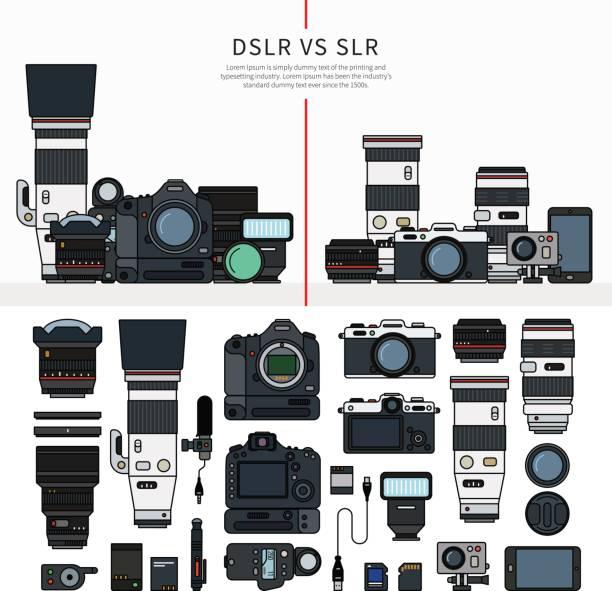stockillustraties, clipart, cartoons en iconen met set voor fotografie tools - spiegelreflexcamera