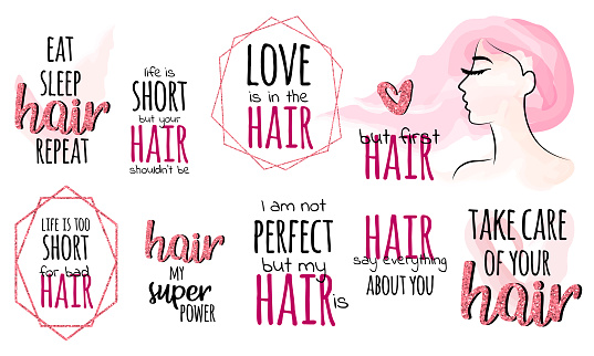 Set Of Phrases About Hair Hair Quotes Rose Gold Glitter And Frames Vector Watercolor Girl Stock Illustration Download Image Now Istock