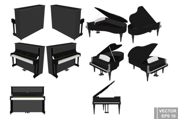 piyano ve piyano kümesi. müzik aleti. gerçekçi. beyaz arka plan üzerinde izole. - piano stock illustrations