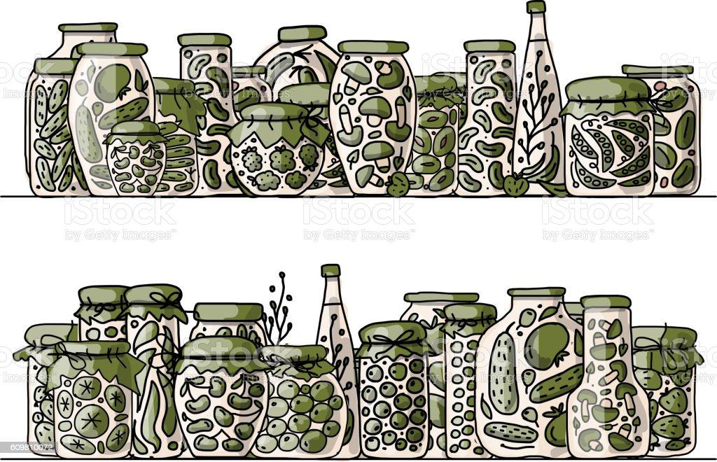 Set of pickle jars with fruits and vegetables vector art illustration
