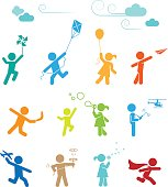 Set of pictograms representing children playing and having fun.