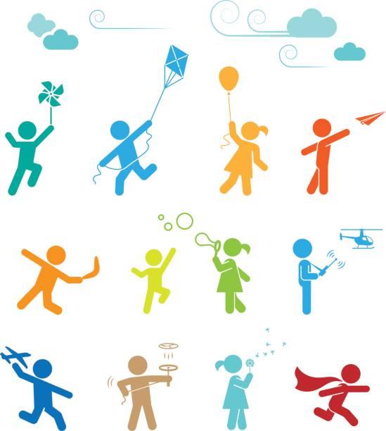 satz von piktogrammen für kinder spiel und spaß. - freilauf stock-grafiken, -clipart, -cartoons und -symbole