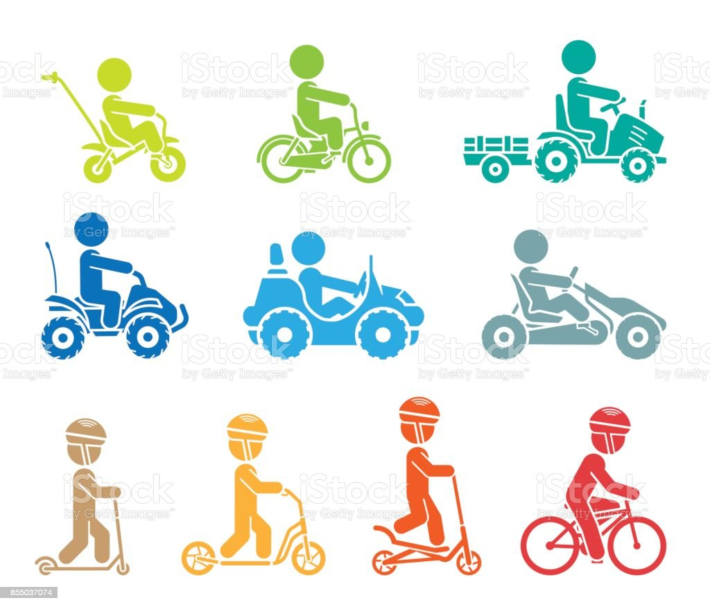 Set of pictograms representing children riding all sorts of vehicles. vector art illustration
