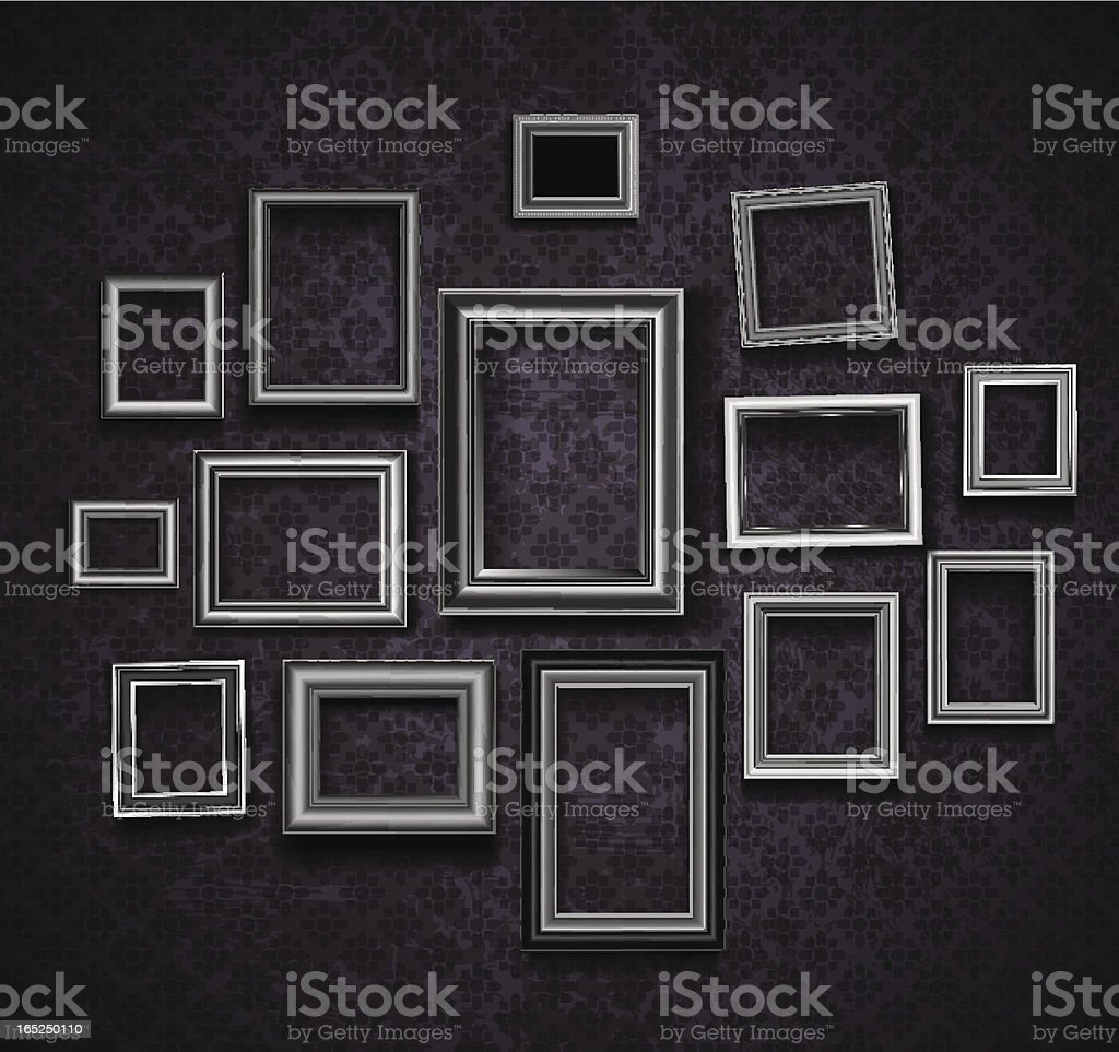 Set of picture frames on dark violet background vector art illustration