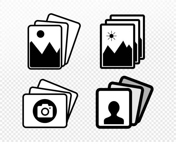illustrations, cliparts, dessins animés et icônes de ensemble de symbole d'icône de portrait d'image. illustration de vecteur. isoler sur le fond blanc. - galerie d'art