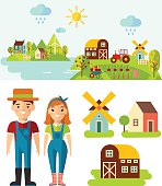 Set of pictures  gardener, mill, barn, landscape with gardening concept