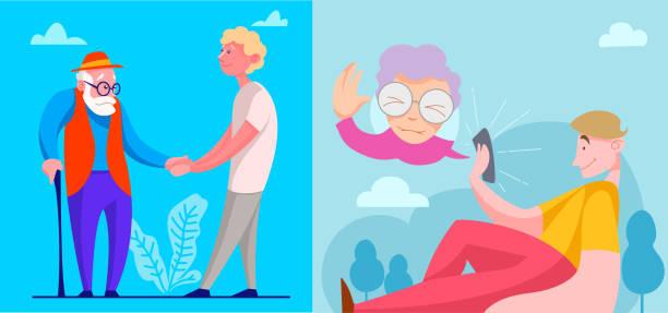 ilustraciones, imágenes clip art, dibujos animados e iconos de stock de conjunto de imágenes ayudan a los ancianos. ilustración vectorial en estilo de dibujos animados - nieto