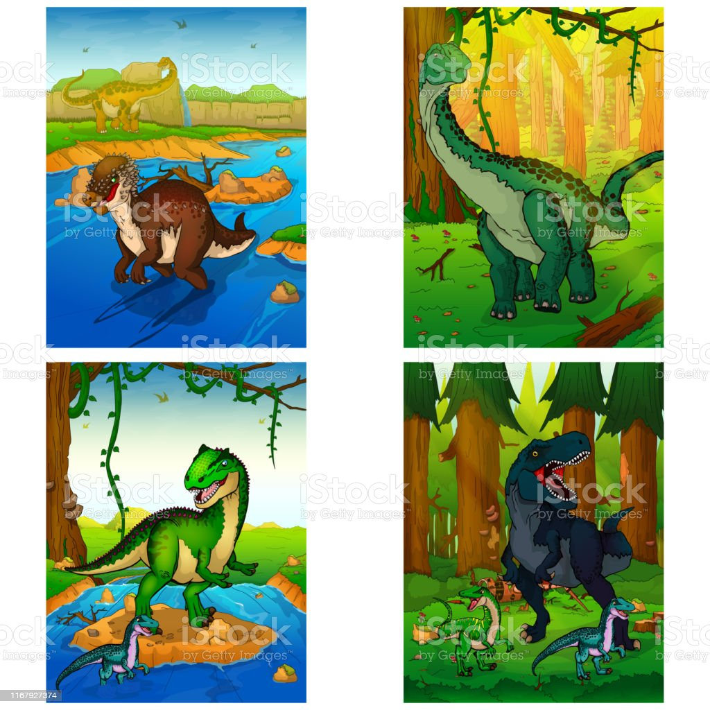 Set of pictures with dinosaurs. Dinosaur world. Vector illustration