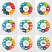 Set of pie chart circle infographic templates with 4-12 options