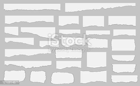 istock Set of pieces of white torn paper, isolated on grey background. Vector illustration 1210514571