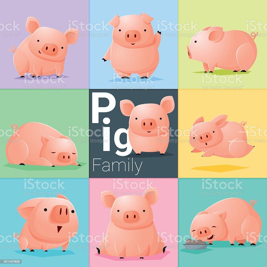 Set of Pig family vector art illustration