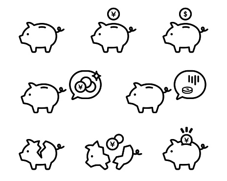 Set of pig moneybox simple icons